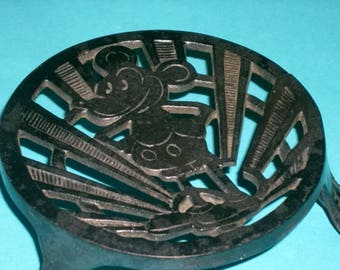 Antique Rare Mickey Mouse Cast Iron Trivet 1930's