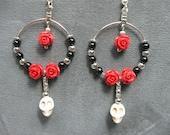 Day of the Dead Dia de los Muertos Bone Sugar Skull Loop Dangle Earrings with Red Flowers, Black and Silver Beads