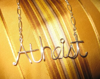 SOLID STERLING SILVER Atheist Necklace // Wire Word Necklace // Secular Necklace