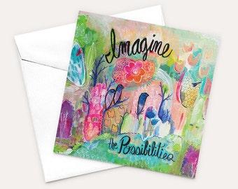 Graduation Card, Encouragement Card, Card for Friend, Card For Her, Love Card, Card for Girlfriend, Original Art Card, Blank Greeting