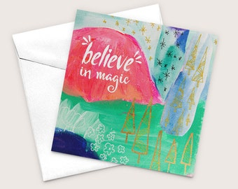 Inspirational Greeting, Encouragement Cards, Believe In Magic, Graduation Card, Blank Greeting, Good Luck Cards, Cards For Women