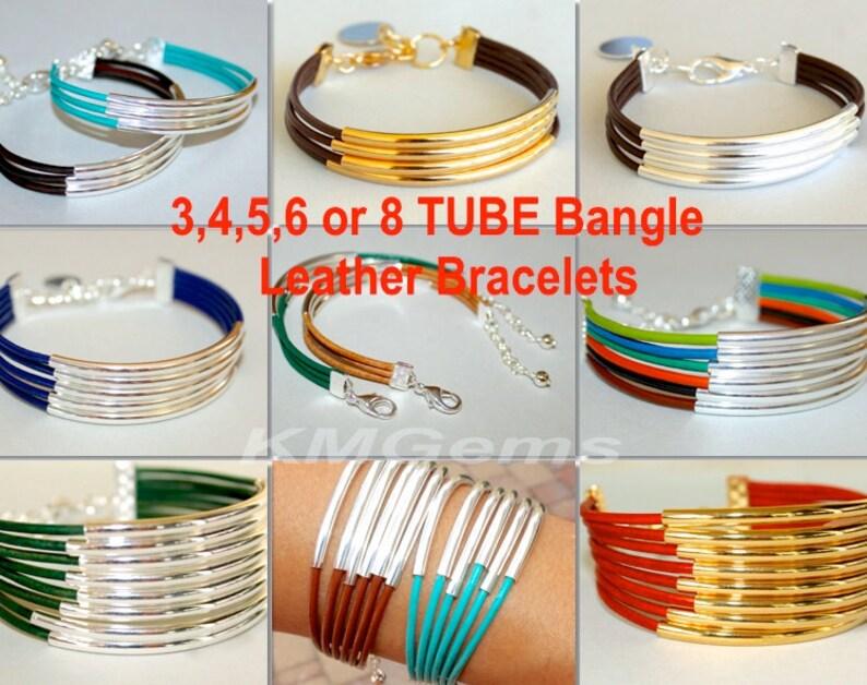 Pick SIZE  COLOR SILVER Tube Leather Bangle Bracelet  3  Strands of Leather Cords w Long Silver Tubes 025 Boho Leather Cuff Bracelet