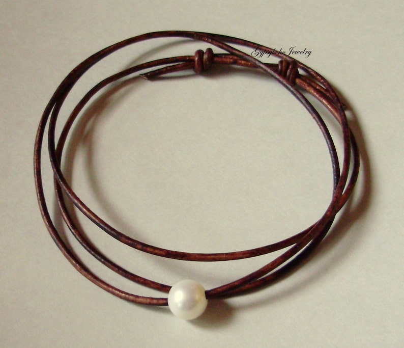 Custom Single Pearl Leather CHOKER  Necklace Sliding Knots  Pearl Choker   Wrap Bracelet  Floating Large White Freshwater Pearl Choker 010
