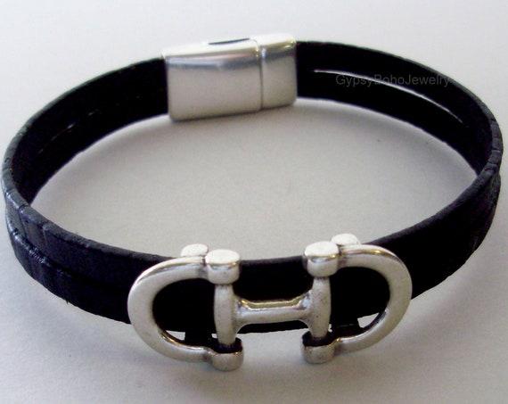 Unisex  Men/'s  Natural  Leather Horse Bracelet Platinum Color Equestrian Charm Bracelet Horse Snaffle Bit Bracelet  Gift Custom  Usa  225
