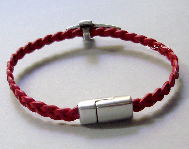 Men/'s  Hers  Cross BRAIDED Leather BRACELET -Stainless Steel Clasp Unisex  Men/'s Gift  Fathers Day  M01 Men/'s Jewelry Men/'s Bracelets