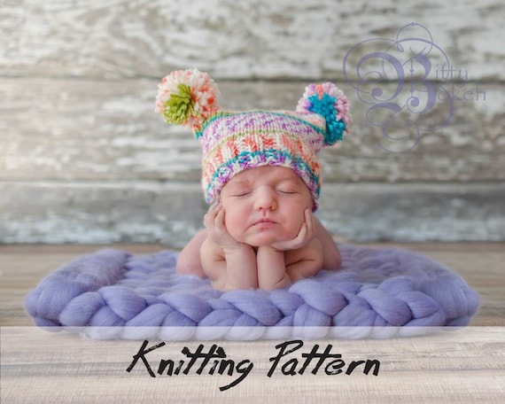 ... new zealand knitting hat pattern rectangle baby hat knitting pattern  with pom poms 3 sizes included 26232a2b463