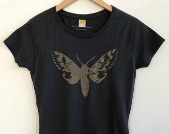 Women's Short Sleeve T/Bamboo Clothing/Organic Cotton/Organic Bamboo/Moth/Charcoal Blue/Maude Andrade/Organic fiber t shirts for women