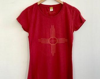 SALE! Women's Short Sleeve T/Bamboo Clothing/Organic Cotton/Organic Bamboo/Zia symbol/Red tshirt/Maude Andrade