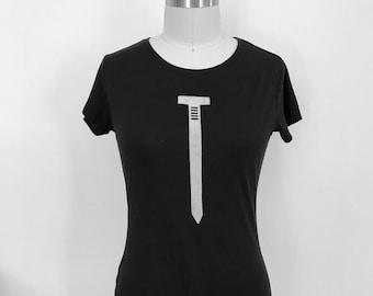 Women's Short Sleeve T/Bamboo Clothing/Organic Cotton/Organic Bamboo/Nail/Black tshirt/Maude Andrade/Organic fiber t shirts for women