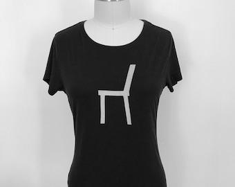 Women's Short Sleeve T/Bamboo Clothing/Organic Cotton/Organic Bamboo/Chair/Black tshirt/Maude Andrade/Organic fiber t shirts for women