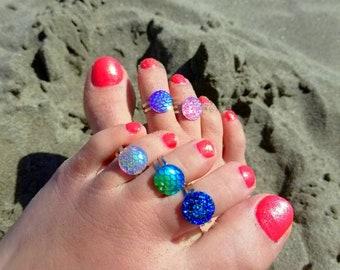 Cute Toe Ring, Adjustable Toe Ring, Faux Druzy, Mermaid, Rainbow Aura, Midi Rings, Child Size Ring, Crystal Ring, Sparkly, Glitter, Fun Cute