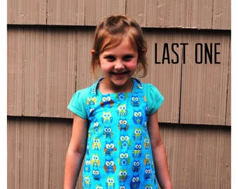 Apron Child or Toddler Owl Boy Girl Blue Turquoise