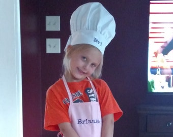 Embroidered Kids Apron and Chef Hat Red Green Pink Blue Yellow Children Personalized  Chef Apron BBQ Apron