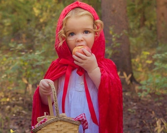 Velours frappé à la main Red Riding Hood Cap enfants Costume enfant enfants enfant Halloween