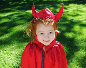 Devil Costume Child Cape Red Satin Toddler Kids Children Photographer Prop Halloween Make Believe