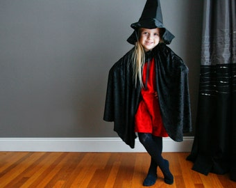 Wicked Witch Cape and Hat Black Crushed Velvet