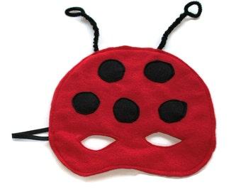Red Felt Ladybug Mask Child Kids Red Black