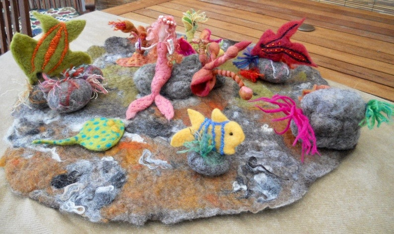 Hand felted sea bed play mat felted tropical fish with image 0