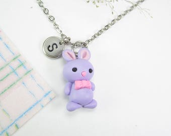 Bunny necklace, Initial necklace, personalized necklace, bunny jewelry, cute unique gift, kawaii rabbit necklace, rabbit jewelry letter gift