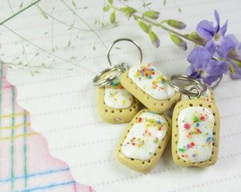 Pop tart stitch markers, pop tart charms knit knitting food charms, food stitch markers polymer clay pop tarts breakfast miniature food cute