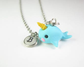Narwhal necklace, Initial necklace, personalized necklace, narwhal jewelry, cute unique gift, best friend gift, narwhal gift, whimsical gift