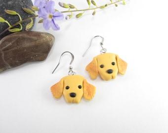 a6d509510 Golden Retriever Earrings, Retriever earrings, dog earrings, dog jewelry,  retriever gifts, polymer clay animal cute dog charm pet lover gift