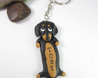 Dachshund Keychain Personalized custom keychain key chain ring Dachshund  gifts name tag dog lover gifts dog polymer clay black unique doxie 15075de25
