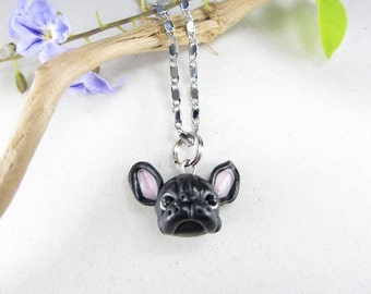 Black French Bulldog Jewelry Necklace - dog lover gift french bulldog pendant miniature animal pet gifts  unique collectible