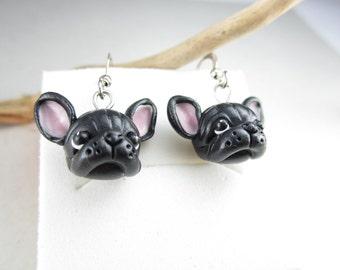 Black French Bulldog Earrings - bulldog jewelry miniature animal dog, French bulldog jewelry, dog jewelry, black earrings