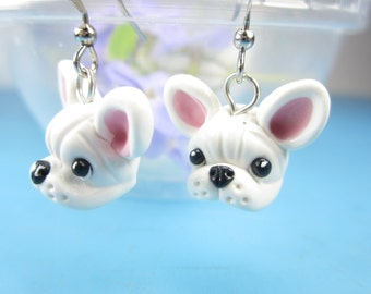 White French Bulldog Earrings - French Bulldog jewelry miniature animal dog earrings French bulldog gifts animal lover gifts dog lover cute