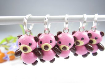 Pink Bear Knitting Stitch Markers - Set of 5