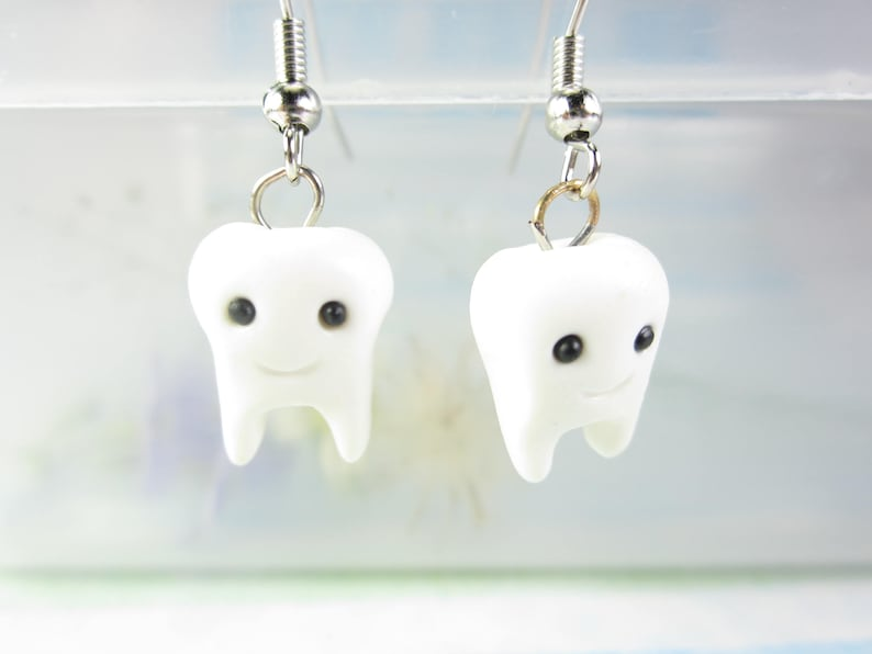 4e2fc7a9e3e72 Cute Tooth Earrings, tooth jewelry, kawaii earrings, white whimsical  dentist gift dental polymer clay unique gift unique earrings teeth