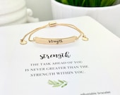 Strength Bracelet, Mantra Bracelet, Strong Women, You can do this, Be Strong Gift, You can do hard things, encouragement gift, bar bracelet