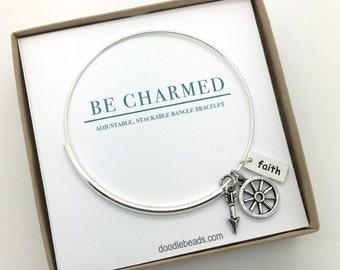 8d33bcb4ff1 Pioneer Trek, wagon wheel, faith bangle bracelet, charm wire adjustable  bracelet, Be Charmed, Faith in Every Footstep BCB111