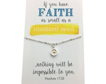 Mustard Seed Necklace - Gold or Silver Faith necklace, If you have faith as big as a mustard seed... choose carded with quote or in gift box