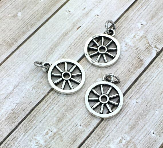 4 Wheel charms antique silver tone P318