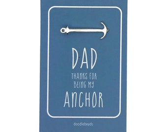 Father's Day gift, Anchor tie clip with card- Dad thank you for being my Anchor,  Dad thank you, Dad birthday, Dad accessories, Tie bar gift