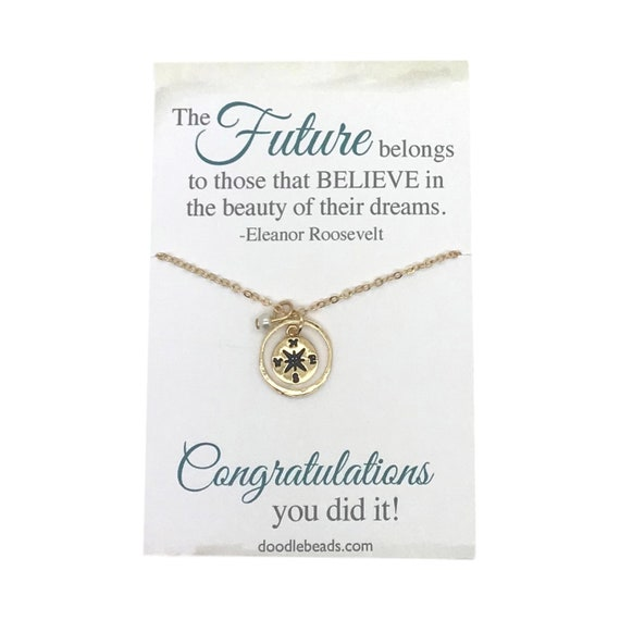 """Silver /""""Class of 2019/"""" Graduation Wish Carded Round Pendant Necklace"""