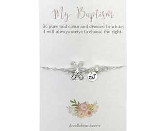 LDS Baptism gift for girls,  CTR bracelet with flower charm,  its great to be eight, baptism present, baptismal  preview gift, mormon girl