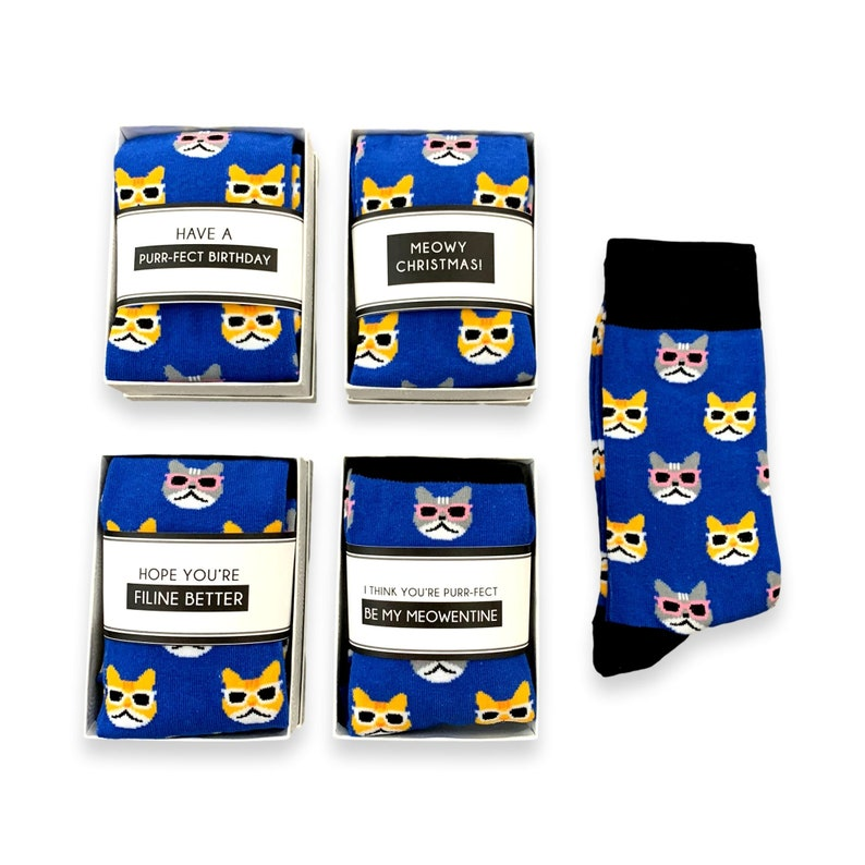 dad women Cat themed gifts for him cat lady Birthday her Novelty cat socks /& sock wrap quote Funny Cat lover Gifts for men cat mom