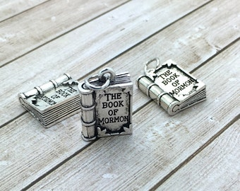 Book of Mormon charms, LDS Charms, 2017 youth theme, silver or gold, small 16mm long, bulk wholesale charms, be charmed BC06