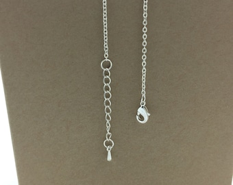 """Silver necklace chain adjustable extension, 14 to 18"""" lengths, bright silver chain necklace oval link chain necklace SMALL 1.5mm - 2mm links"""