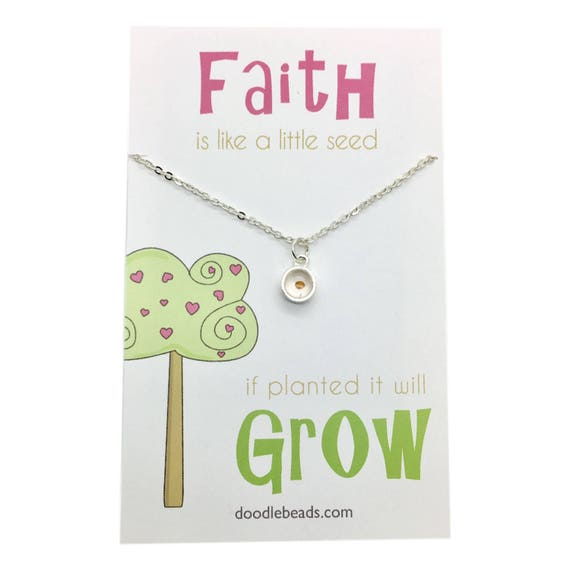 Mustard Seed Necklace - real mustard seed in silver or gold frame Primary  LDS Faith necklace baptismal gift - Faith is like a little seed