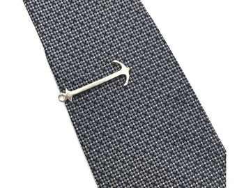 Father's Day Anchor tie bar  - small silver Anchor tie bar - gift for Dad accessory
