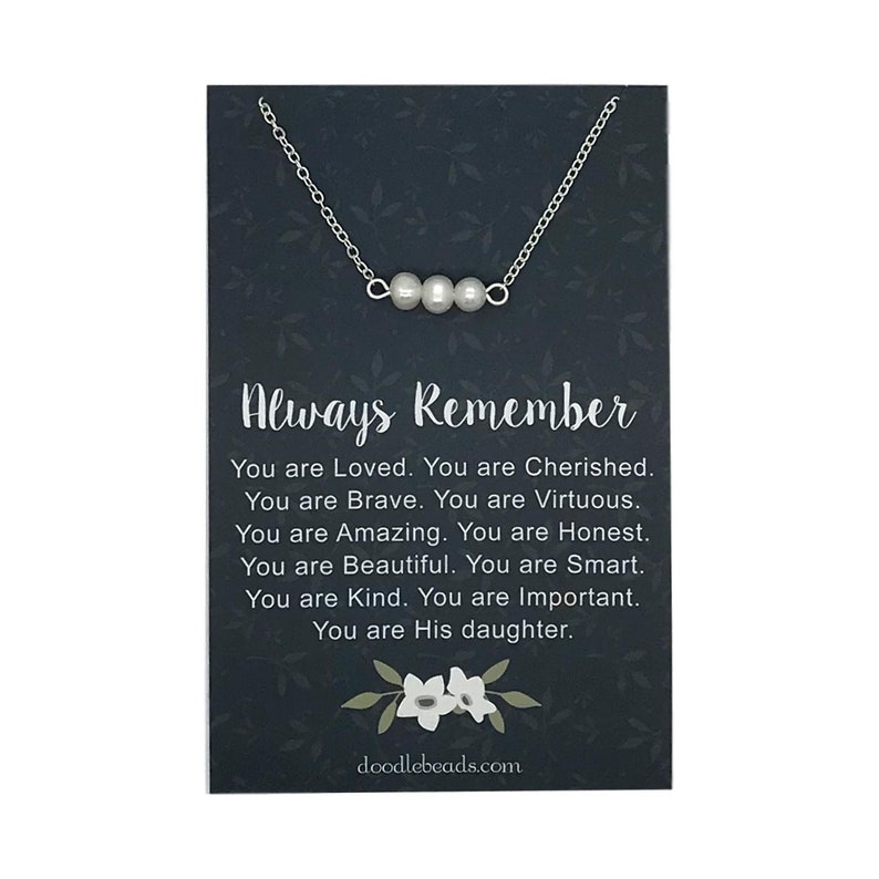daughter gift jewelry Always remember you are braver card quote with gold or silver Triple Pearl Necklace beaded pearl bar necklace