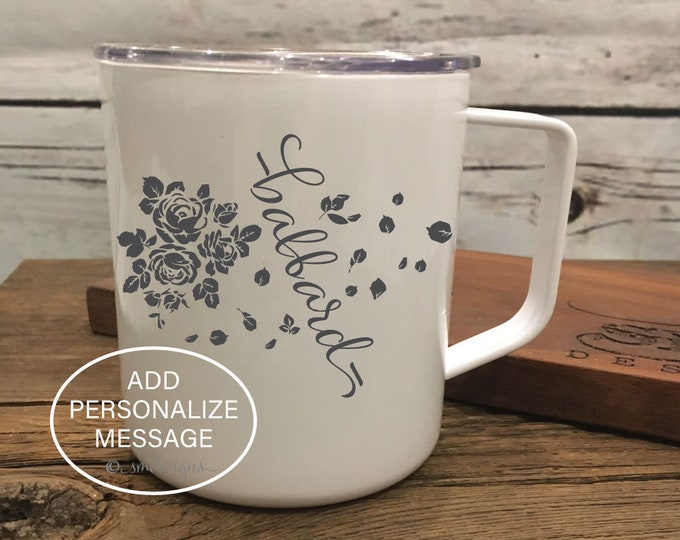 Personalized Last Name Bouquet Coffee Mug Wife Gift Idea Girl Friend Gift Idea Coffee Cup Double Insulation Coffee Mug