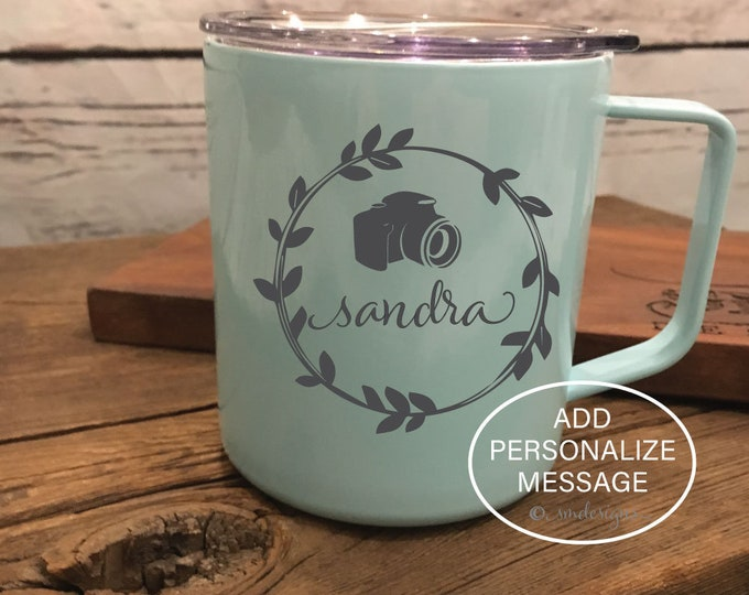 Personalized Name Camera Coffee Mug Photographer Gift Idea Gift For Her Coffee Cup Double Insulation