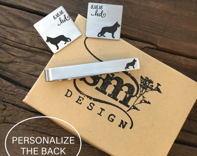 Personalized German Shepherd Cufflinks And Tie Clip Set Gift Idea For A Dog Lover Cufflinks Gift For Him Dog Cufflinks And Tie Clip Set