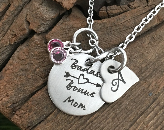 Step Mom Gift Badass Bonus Mom Pendant Necklace Gift From Kids Happy Mother's Day Gift For Step Mom Jewelry Gift Idea For Mother's Day