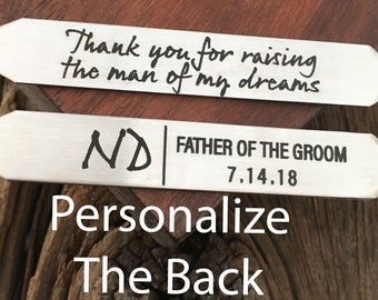 Father Of The Groom Collar Stay Wedding Collar Stay Thank You For Raising The Man Of My Dreams Engraved Collar Stay Wedding Party Gift